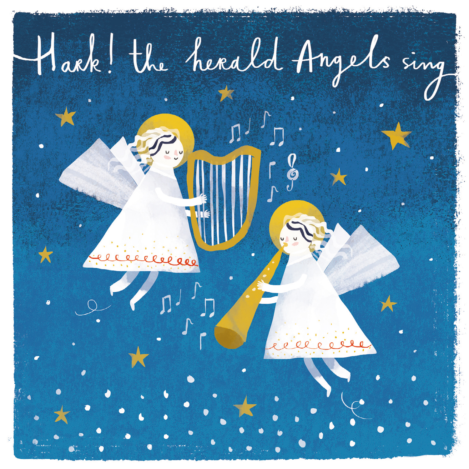 Angels Christmas Cards.Hark The Herald Angels Sing Christmas Card With Glitter