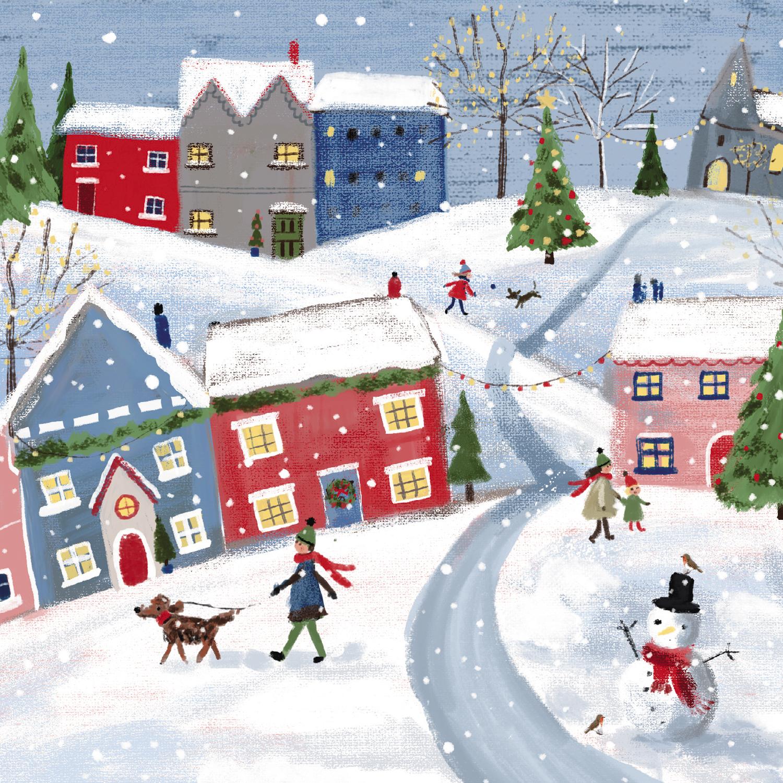 Snowy Christmas.Snowy Village Christmas Card