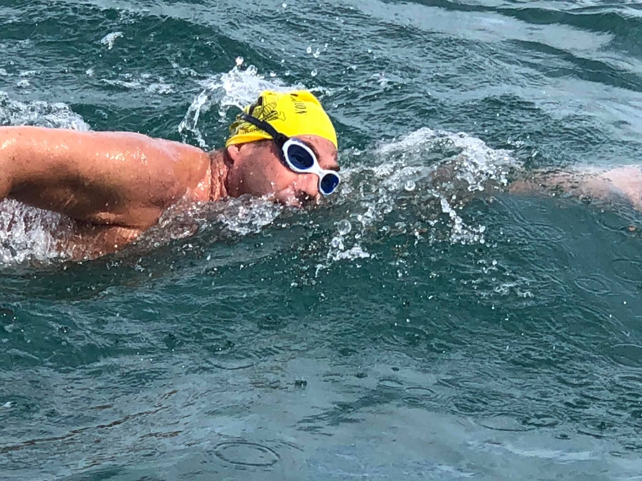 David Sanger swimming the channel for Treloar's